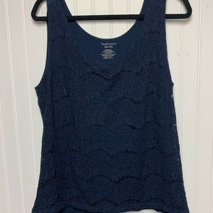 Blue tank top with lace detail